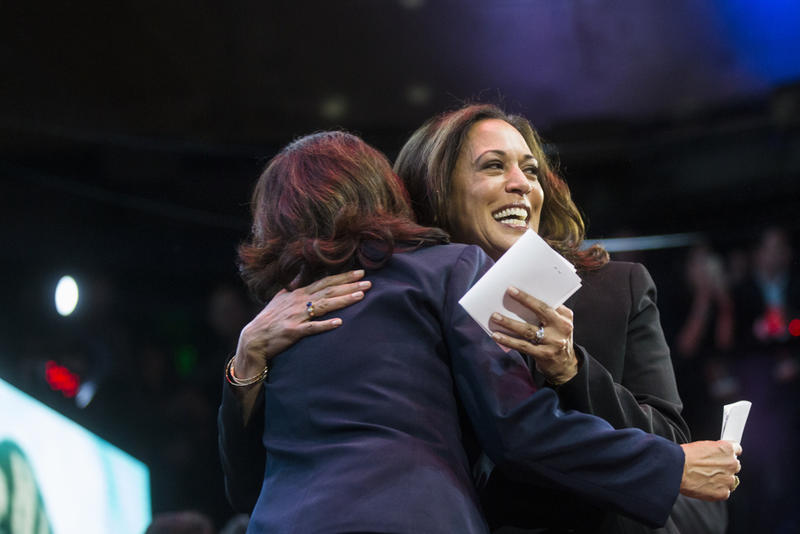 California U.S. Senate candidate and California Attorney General Kamala Harris hugs Los Angeles County Supervisor Hilda Solis before speaking during her election night watch party at The Exchange LA on Tuesday night, Nov. 8, 2016. California chose Harris