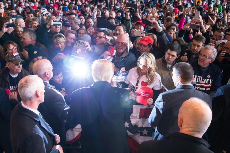 Republican presidential candidate Donald Trump greets the crowd on April 10, 2016 in Rochester, N.Y.