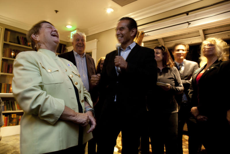 Los Angeles County Supervisor candidate Shiela Kuehl laughs with former Los Angeles Mayor Antonio Villaraigosa during her campaign party at the Victorian in Santa Monica.