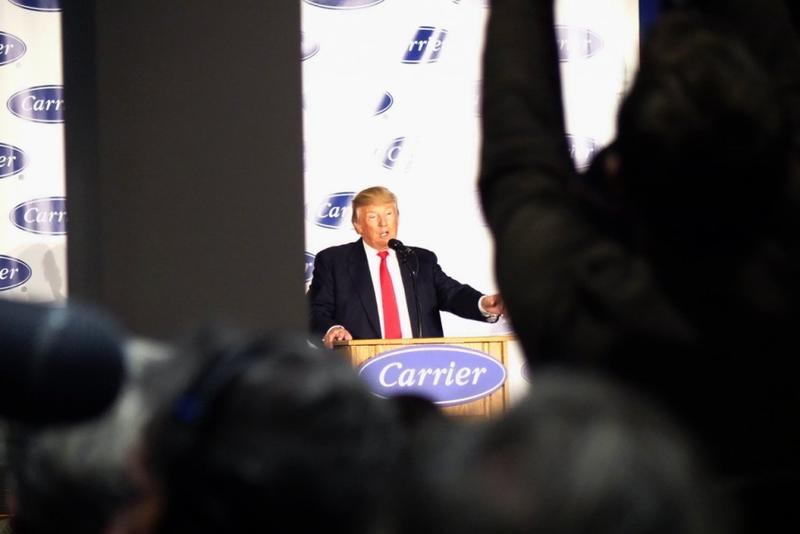 Trump addresses Carrier workers at the company's Indianapolis factory Dec. 1. (Annie Ropeik / IPB News)