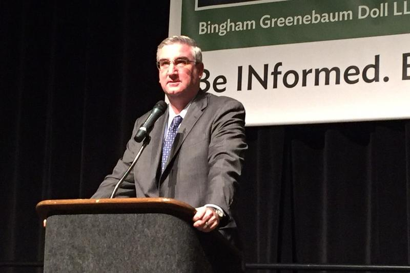 Governor-elect Eric Holcomb lays out the framework of his legislative agenda at the annual BGD Legislative Conference. (Brandon Smith/IPB News)