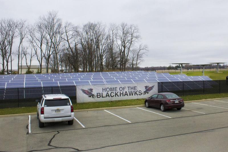 A group of solar panels at Sheridan Elementary School. Sheridan Community Schools, in Hamilton County, is now one of Indiana's first completely solar powered school districts. (Peter Balonon-Rosen/Indiana Public Broadcasting)