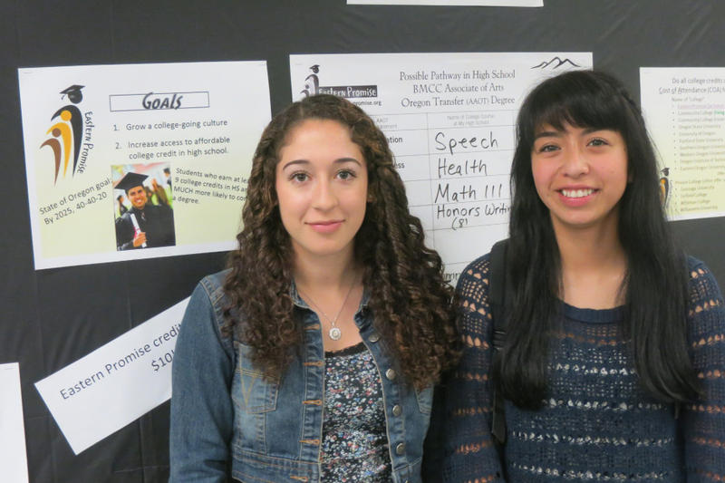 <p>Riverside High Schools' co-valedictorians Stephanie Madrigal (left) and Yvette Barrera graduated with Associate's Degrees, through the Eastern Promise program.</p>