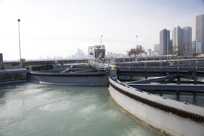 An air compressor and system of bubblers at the gates of Chicago Harbor Lock can help break up ice as it forms.
