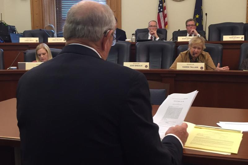 Sen. Luke Kenley (R-Noblesville), foreground, presents a bill to the Senate Tax and Fiscal Policy Committee. (Brandon Smith/IPB News)