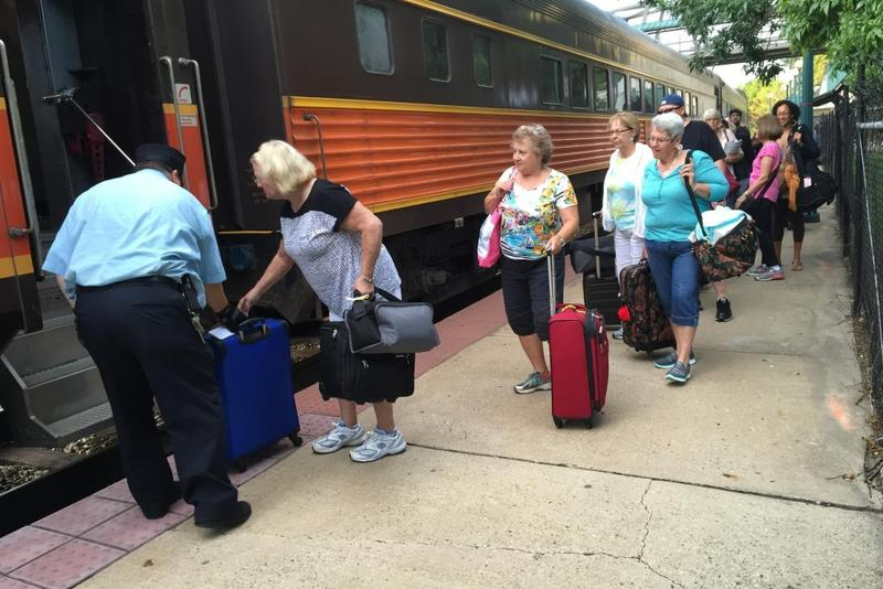 Passengers board the Hoosier State train in Lafayette, Indiana, bound for Chicago on August 19, 2016. (Chris Morisse Vizza/WBAA News)