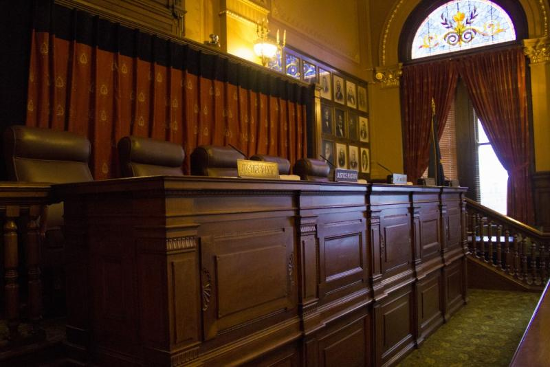The Indiana Supreme Court Chamber at the Indiana Statehouse (Peter Balonon-Rosen/IPB News)