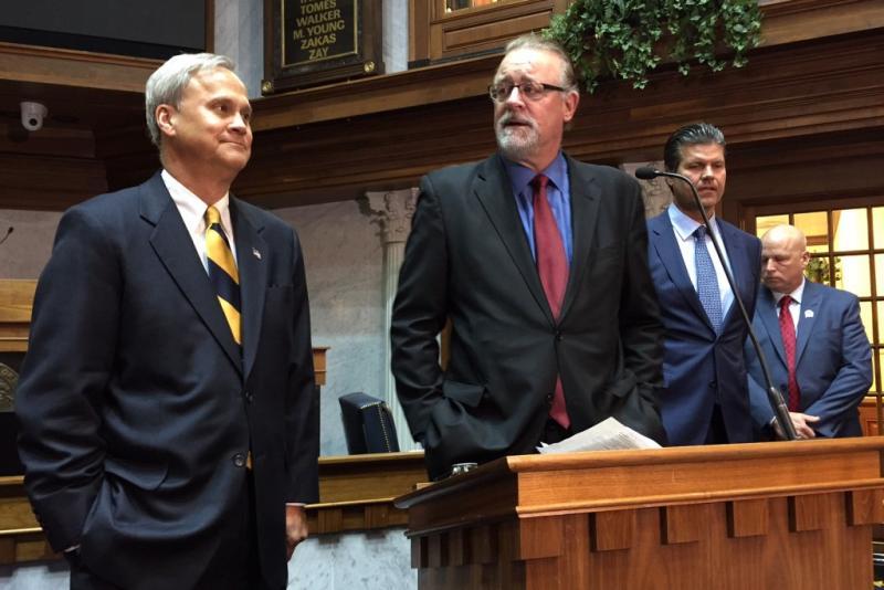Senate Republican Leadership, led by Senate President Pro Tem David Long (R-Fort Wayne), center, discuss the caucus' 2017 priorities. (Brandon Smith/IPB News)