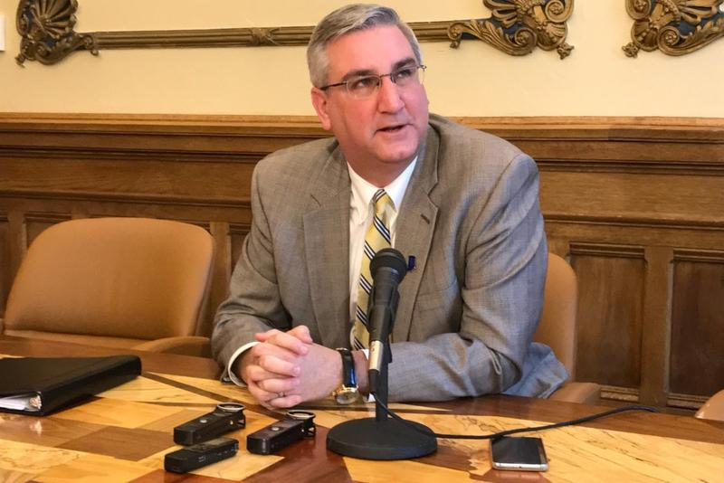 Governor Eric Holcomb discusses his pardon of Keith Cooper. (Brandon Smith/IPB News)