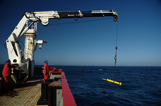 <p>An Argo float being raised out of the Bellingshausen Sea is shown here. Argo floats are robotic instruments that measure ocean data and transmit it to satellites.</p>