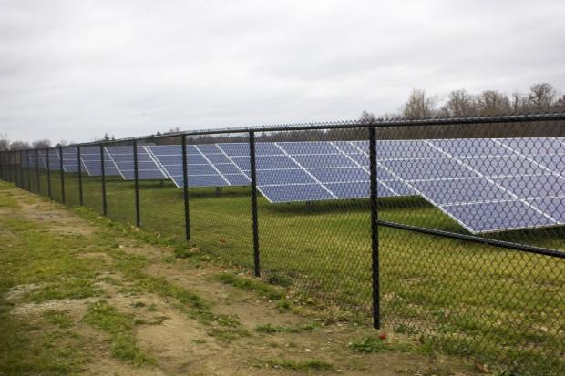 Solar panels behind Sheridan Elementary School. Sheridan Community Schools is one of the first completely solar powered districts in the state. (Peter Balonon-Rosen/IPBS)