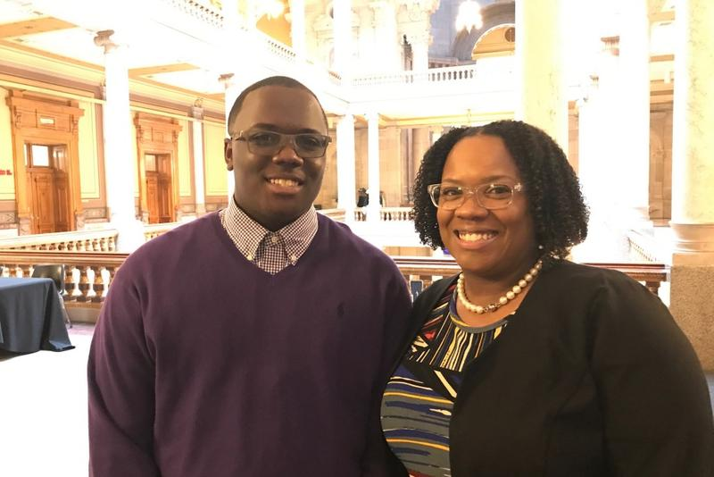 Caleb Cureton, 14, and his mom, Shana Cureton-McMurray, testified before the Senate education committee this week in favor of a bill that would increase funding for after school programs. Cureton says his experience at the Boys and Girls Club in Columbus