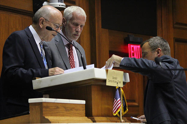 Senate Education Committee chair Dennis Kruse (R-Auburn) and House Education Committee Chair Bob Behning (R-Indianapolis) stand in the House chamber in this 2015 file photo. (Rachel Morello/StateImpact Indiana)