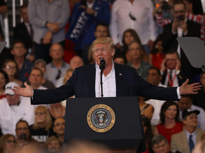 President Trump speaks during his campaign-style rally at Orlando Melbourne International Airport in Florida on Saturday.
