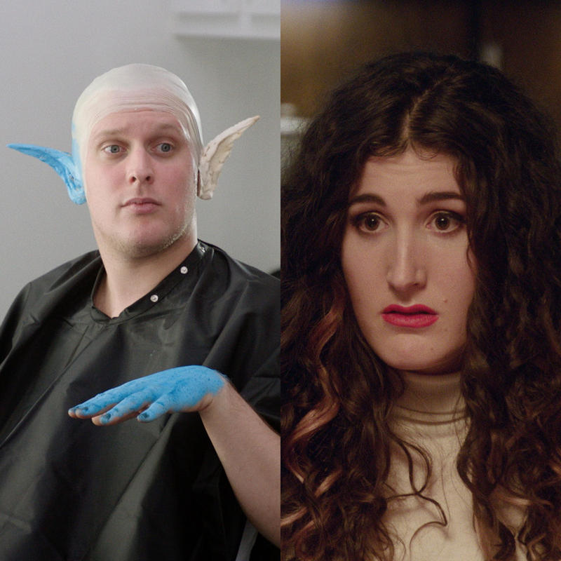 "Left: John Early. Right: Kate Berlant. The two are in different scenes from their show ""555."" (Images courtesy of Vimeo.)"