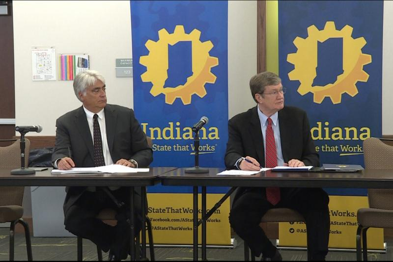 Indiana Economic Development Corporation board members discuss a $7-million tax incentives deal they aim to offer Carrier for keeping jobs in Indianapolis. (Annie Ropeik/IPB News)