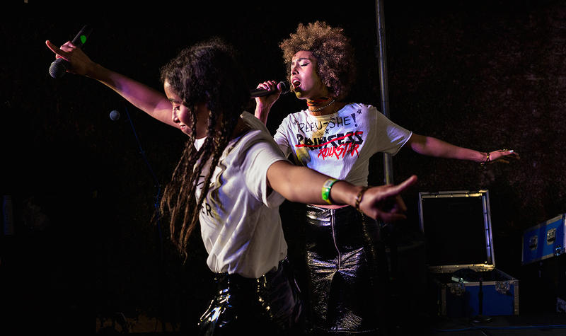 <p>Sister duo Faarrow perform at South by Southwest's ContraBanned showcase in Austin, March 17, 2017.</p>