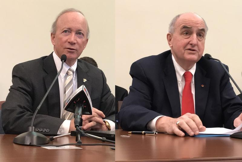 Purdue University President Mitch Daniels (left) and Indiana University President Michael McRobbie (right) address lawmakers in a Senate budget hearing. (Brandon Smith/IPB News)