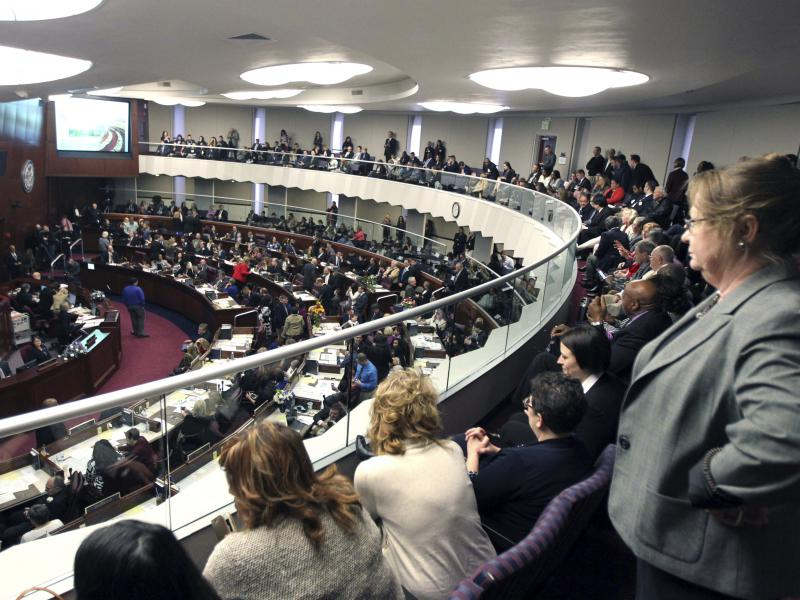 Spectators look down on the Nevada Assembly on the opening day of the legislative session in Carson City, Nev., in February. On Monday, members of the Assembly voted to adopt the Equal Rights Amendment.