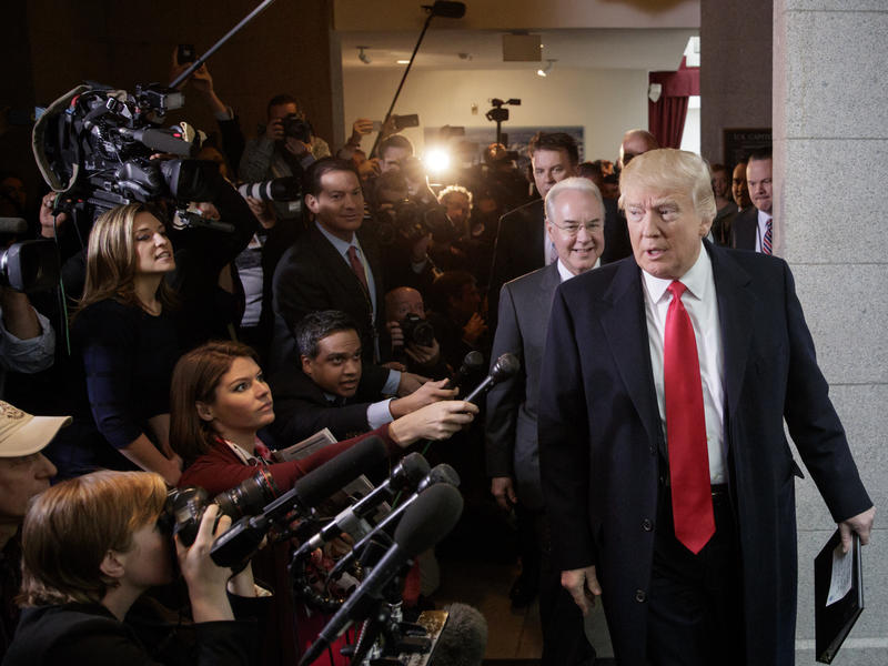 President Trump and Health and Human Services Secretary Tom Price visit Capitol Hill to rally support for the Republican health care bill.