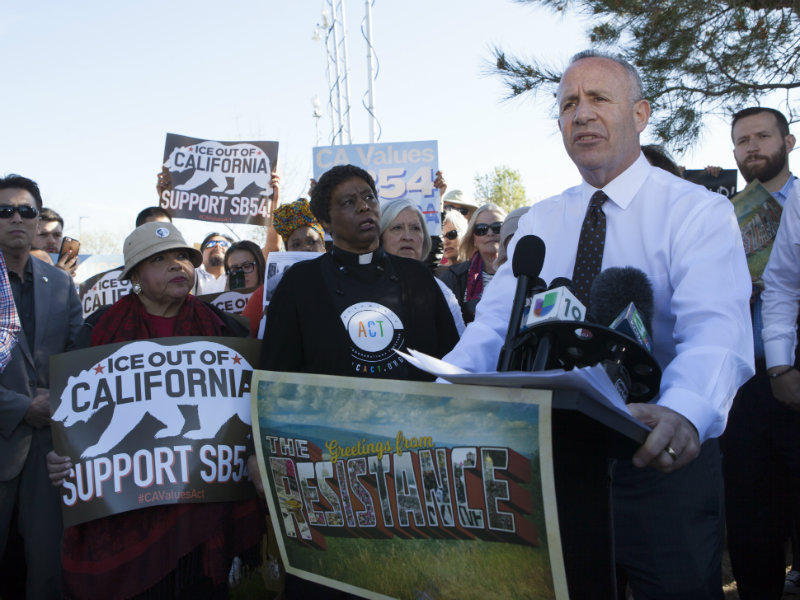 Mayor Steinberg addresses a crowd during the unity rally before a forum hosted by Sacramento County Sheriff Scott Jones with Acting Director of U.S. Immigrations and Custom Enforcement, Thomas Homan, on Tuesday, March 28, 2017 in Sacramento.
