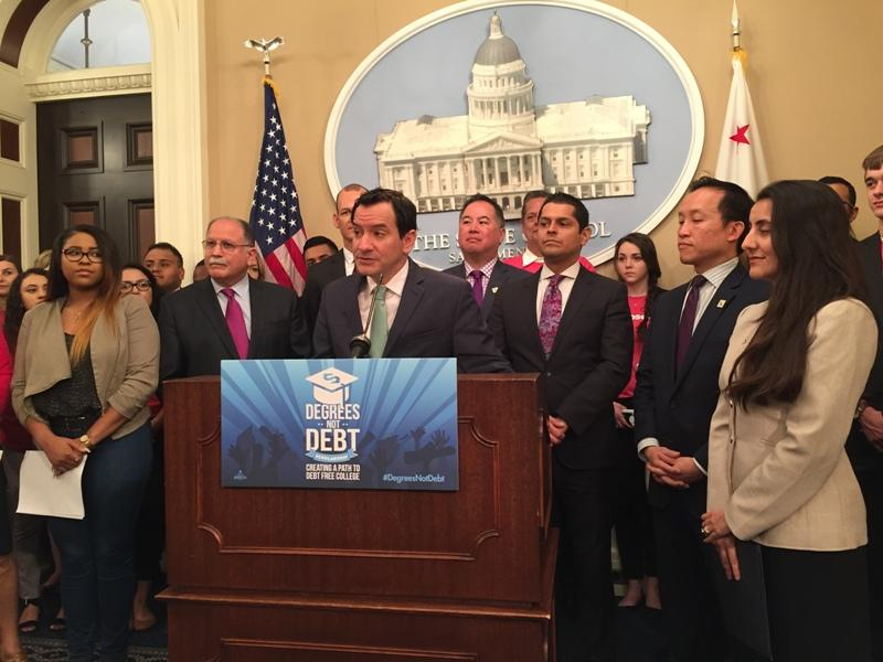 Assembly Speaker Anthony Rendon (D-Paramount) and members of his caucus announce a $1.6 billion state budget proposal intended to allow California college students who attend a UC or CSU to complete their degrees without incurring student loan debt.