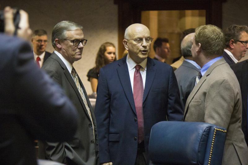 Sen. Dennis Kruse (R-Auburn), center, is head of the Senate Committee on Education. (Peter Balonon-Rosen/IPB News)