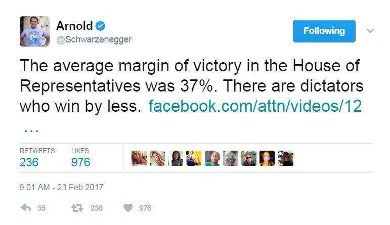 Arnold Redistricting Tweet