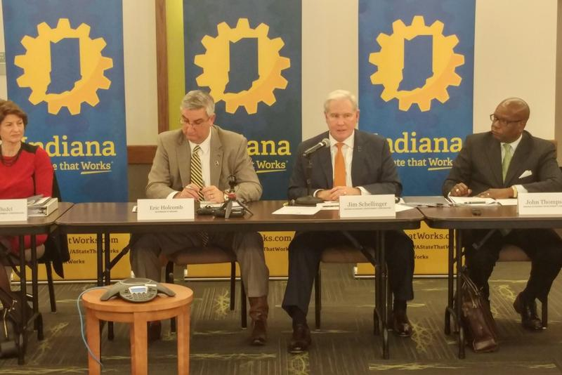 Gov. Eric Holcomb leads the Indiana Economic Development Corporation in voting to approve Carrier's incentives package. (Annie Ropeik/IPB News)