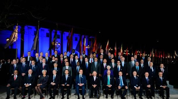 Participants in the G20 Finance Ministers and Central Bank Governors Meeting pose for a photo in Baden-Baden in southern Germany on Friday.