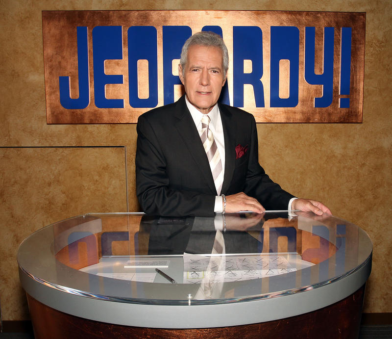 "CULVER CITY, CA - SEPTEMBER 20: Host Alex Trebek poses on the set at Sony Pictures for the 28th Season Premiere of the television show ""Jeopardy"" on September 20, 2011 in Culver City, California.  (Photo by Frederick M. Brown/Getty Images)"