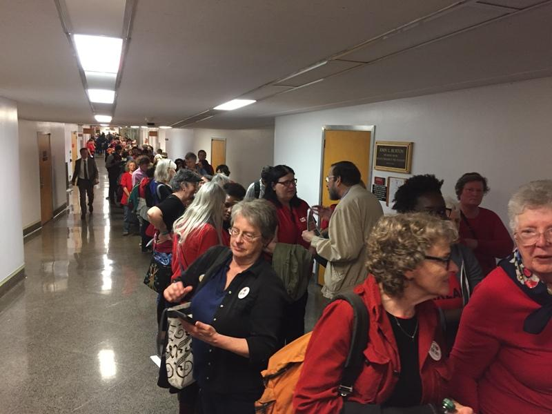 Supporters of creating a single-payer health care system lined up to speak at the California Senate Health Committee hearing on Wednesday, April 26, 2017.