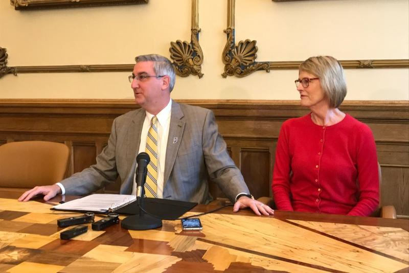 Governor Eric Holcomb used his first veto to reject a bill creating fees for public records searches. (Brandon Smith/IPB News)