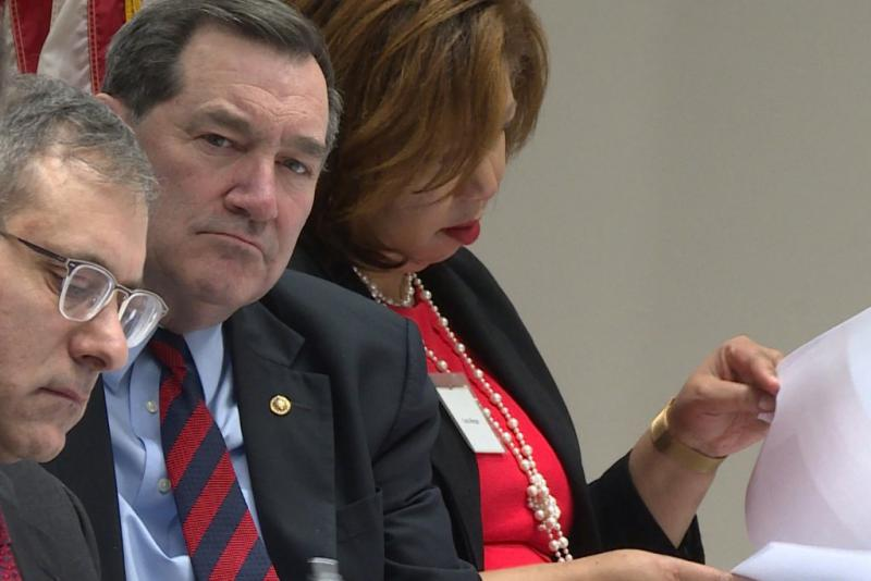 Joe Donnelly listens to testimony from East Chicago residents during a visit on Feb. 17, 2017. (Lauren Chapman/IPB News)