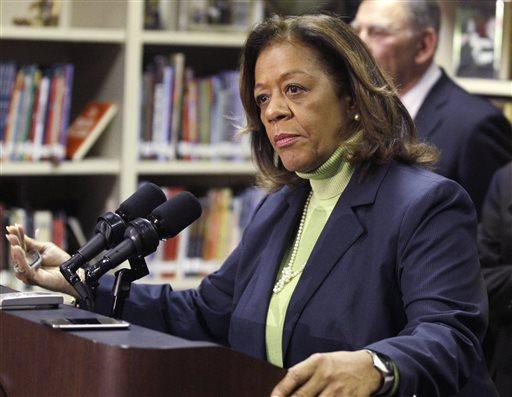 Former Chicago Public Schools CEO Barbara Byrd-Bennett speaks at an Oct.  12, 2012, news conference in Chicago.