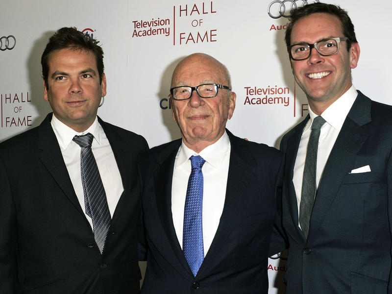 Rupert Murdoch, center, and his sons Lachlan, left, and James Murdoch attend the 2014 Television Academy Hall of Fame in Beverly Hills, Calif.