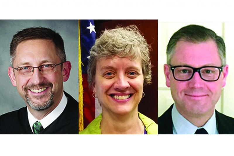 The three finalists for Indiana's open Supreme Court seat, from left: Christopher Goff, Vicki Carmichael, Michael Kincaid (IN.gov)