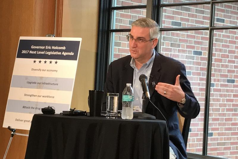 Gov. Eric Holcomb stresses the need to reinvest a state trust fund into Indiana companies and entrepreneurs. (Brandon Smith/IPB News)