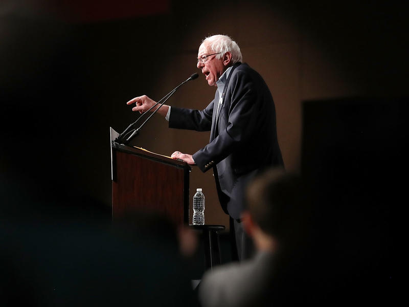 Sen. Bernie Sanders speaks during an event at the the James L. Knight Center on Thursday in Miami as part of a Democratic unity tour. Sanders is getting heat for campaigning with Omaha, Neb., mayoral candidate Heath Mello, who has supported abortion restr