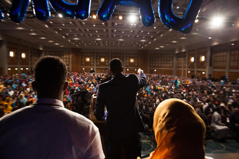 "<p dir=""ltr"">During a rally for the newly elected president of Somalia at the Minneapolis Convention Center, Liban Adam delivers a speech about the ongoing drought in Somalia. He and others in the diaspora and mobilizing online to help.</p>"
