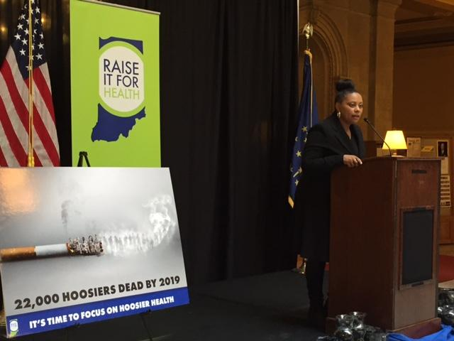 Monique French speaks at a rally to raise the tobacco tax in Indiana. (Jill Sheridan/IPB News)