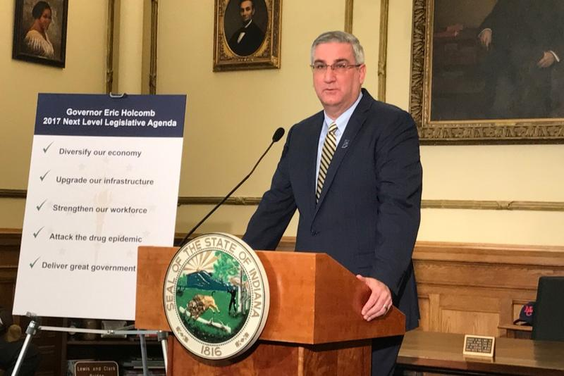 Governor Eric Holcomb discusses the results of the 2017 legislative session. (Brandon Smith/IPB News)