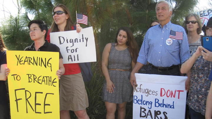 <p>Law student Sara Ehsani-Nia(middle) at a rally calling for the release of child asylum seekers held at a juvenile detention facility near Sacramento, California.</p>