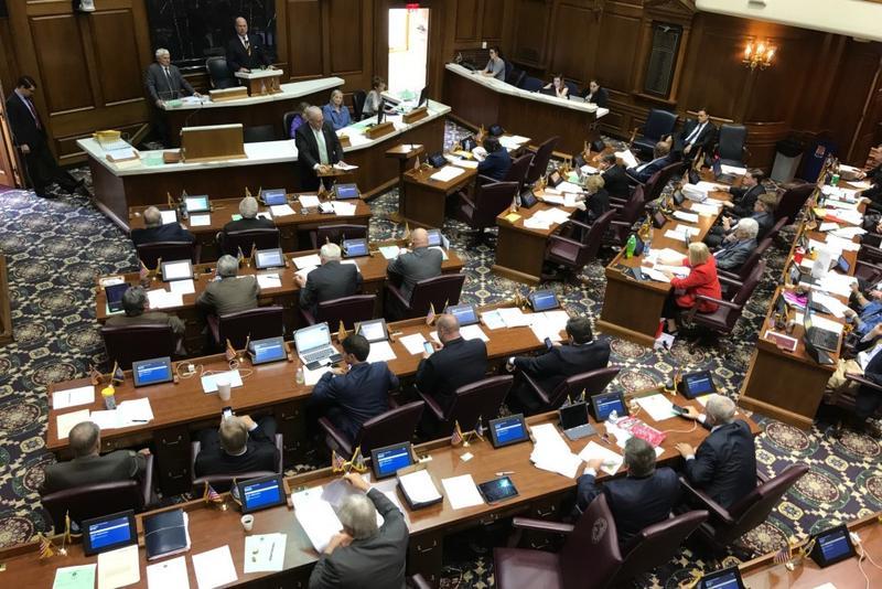 Rep. Matt Lehman (R-Berne) presents the short-term rentals bill to the House Chamber. (Brandon Smith/IPB News)
