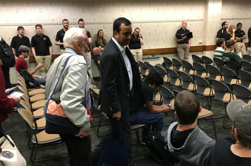 "Former astronaut Buzz Aldrin (left) served as the ""customer"" for a group of Purdue students trying to determine what it'll cost to send a million humans to Mars in the next century."