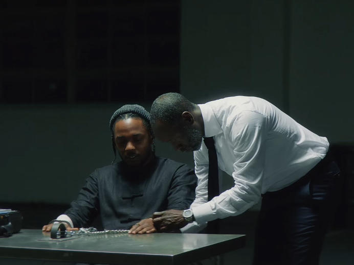 "Kendrick Lamar and Don Cheadle in the ""DNA."" video."
