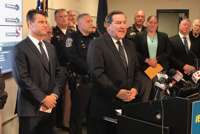 U.S. Senator Joe Donnelly (D-Indiana), center, and Sen. Todd Young (R-Indiana), left, say they will do anything they can to avoid a federal government shutdown. (Brandon Smith/IPB News)