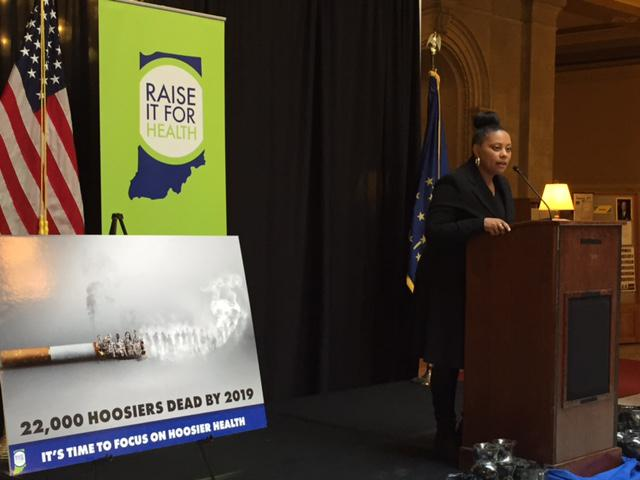 Monique French speaks at a rally to raise the tobacco tax in Indiana.