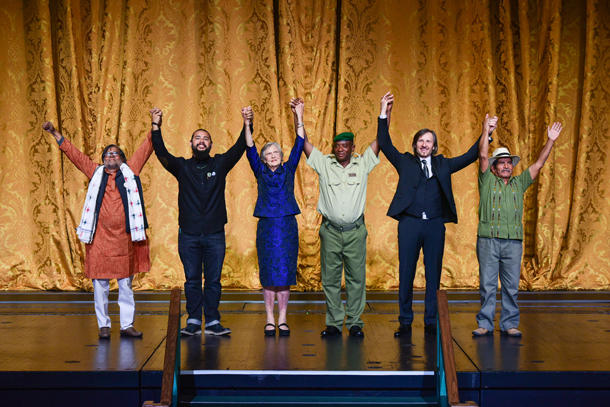 <p>The six Goldman Environmental Prize winners onstage at the 2017 ceremony are shown here. Mark! Lopez, the winner from North America, is second from the left.</p>