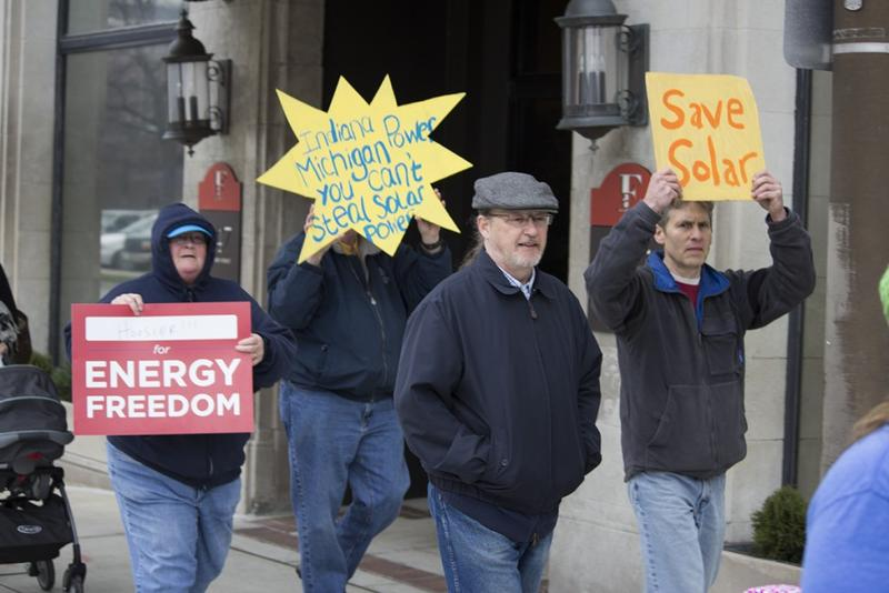 Protesters in Fort Wayne march against SB 309 during the legislative session. (Nick Janzen/IPB News)